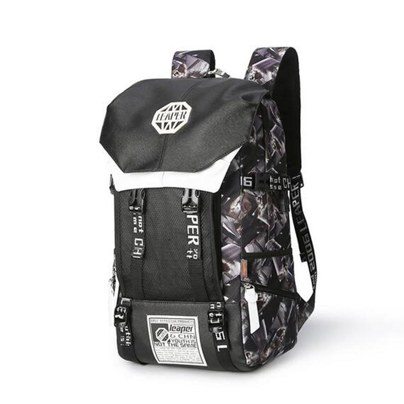 Leaper sac à dos hommes Usb Charge impression Designer sac à dos pour ordinateur portable 15.6 pouces étudiant Oxford sacs d'école pour adolescents étanche - 2