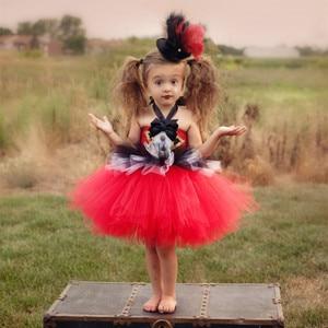 Image 2 - קרקס מנהל קרקס בנות טוטו שמלה אדום ושחור לבן בנות יום הולדת ילדי שמלת מסיבת חג מולד ליל כל הקדושים תחפושת תלבושות