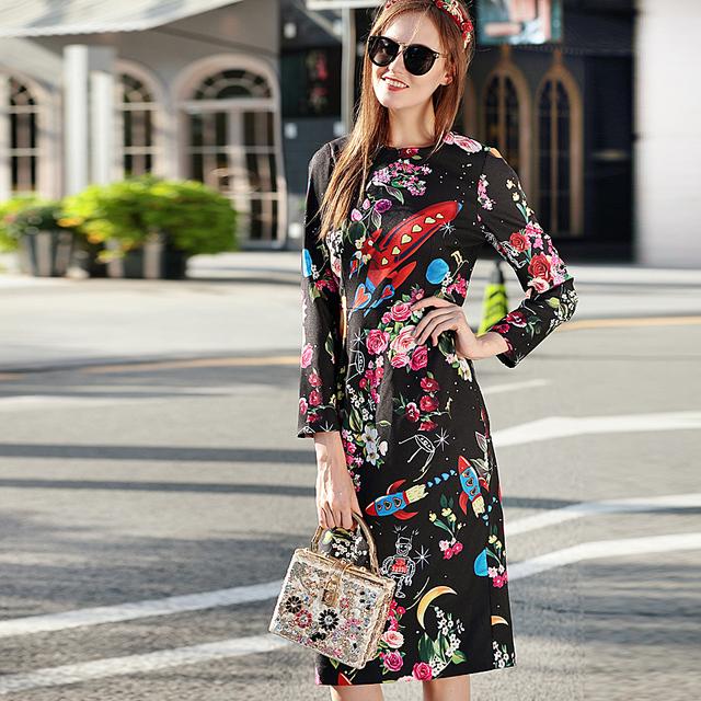 Long Sleeve Retro Flora Print Dress