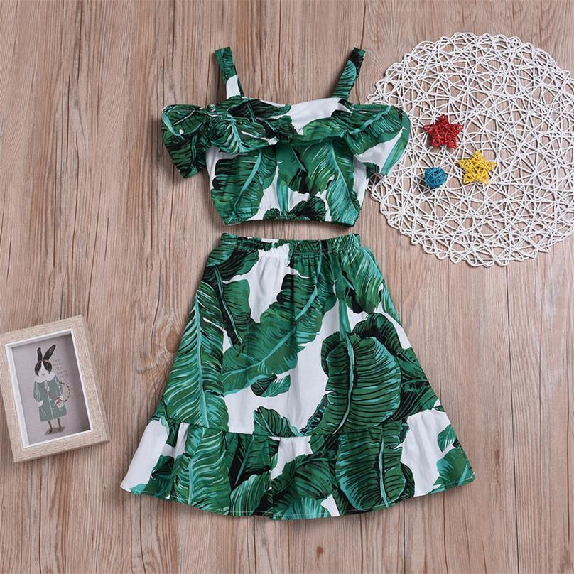 Wholesale Girls 2 Pieces Clothing Sets Green Banana Leavles Off The Shoulder Shirts Floral Dress Kids