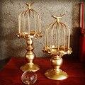 새로운 도착 birdcage 황금 꽃병 황금 철 전기 도금 artware 캔들 홀더