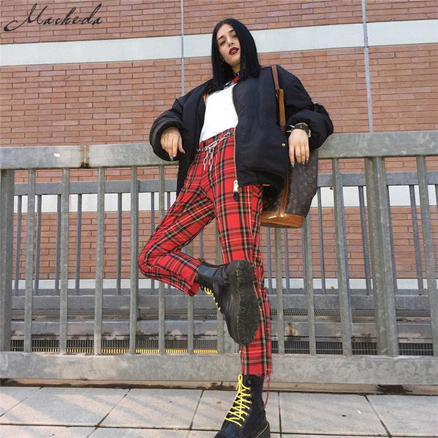 Macheda Summer New Fashion Women Casual Pants Clothes Plaid Female Harem Fit Pants Women New Red Casual Clothing Pants