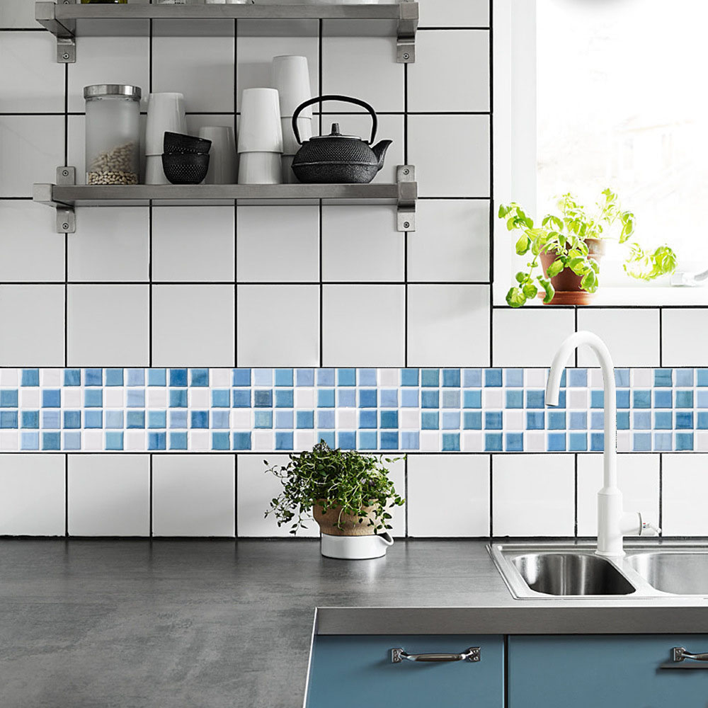 3D Mosaic Retro Tile Floor Sticker For Kitchen Vinyl Waterproof ...