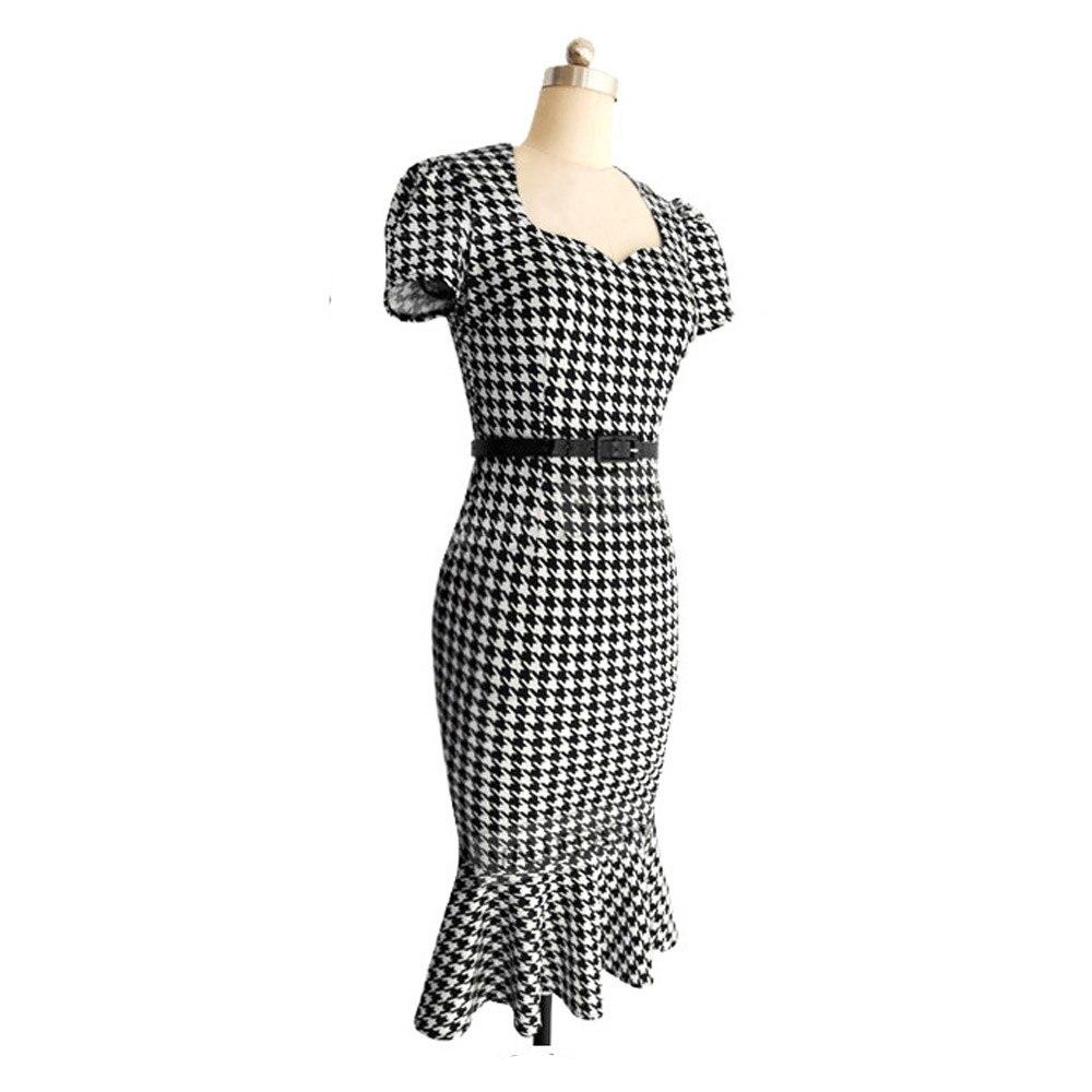 New Vintage Frauen Sommer Business Kleid Elegant Plaid Formale ...
