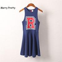Preppy Style R Letter Print One Piece Dress Female Summer High Waist Strapless Slim Women S