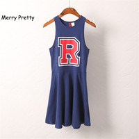 Preppy Style R Letter Print One Piece Dress Female Summer High Waist Strapless Slim Women S