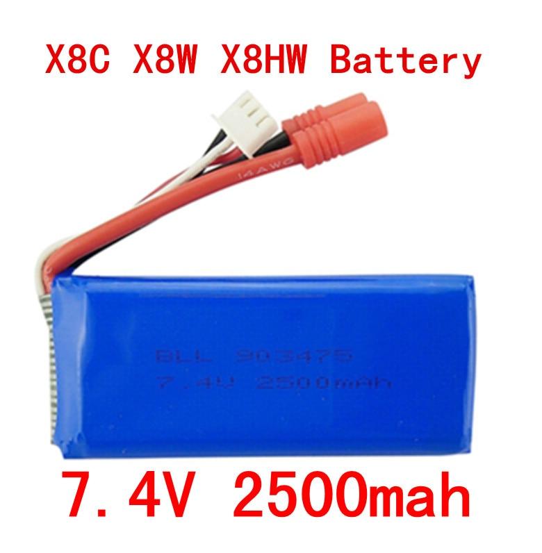 BLL New big battery Syma X8C X8W X8G X8HC X8HG X8HW 2S 7.4V 2500mAh 25C Lipo Battery Helicopter Battery