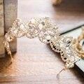 Y la novia de Corea flores de oro accesorios de la boda Tiara Rhinestone Danza Acuática A2158 aro de hilo