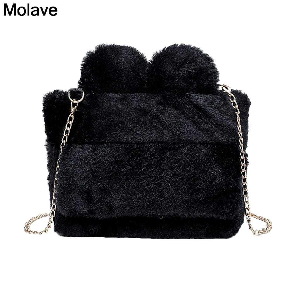 Molave Shoulder Bag Fashion Plush Chain Soild Color Shoulder Bags Women  Zipper Hand Bag For Gift 18313b1138ead