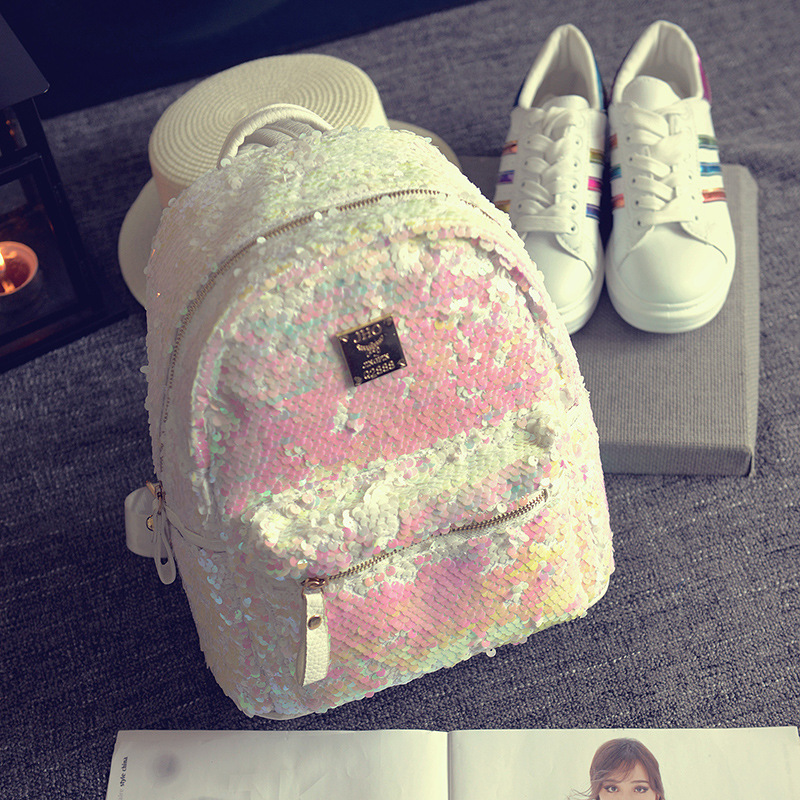2017 New Hot Fashion Women Female Casual Simple Classic Sequins Zipper Soft Cute Students School Bags