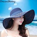 DreamShining Ladys Tide Visor Tourism Beach Hat Sunscreen Straw Hat Women's Big Brim Sun Hat Anti-UV 2016 Cute Girl Bow Visor