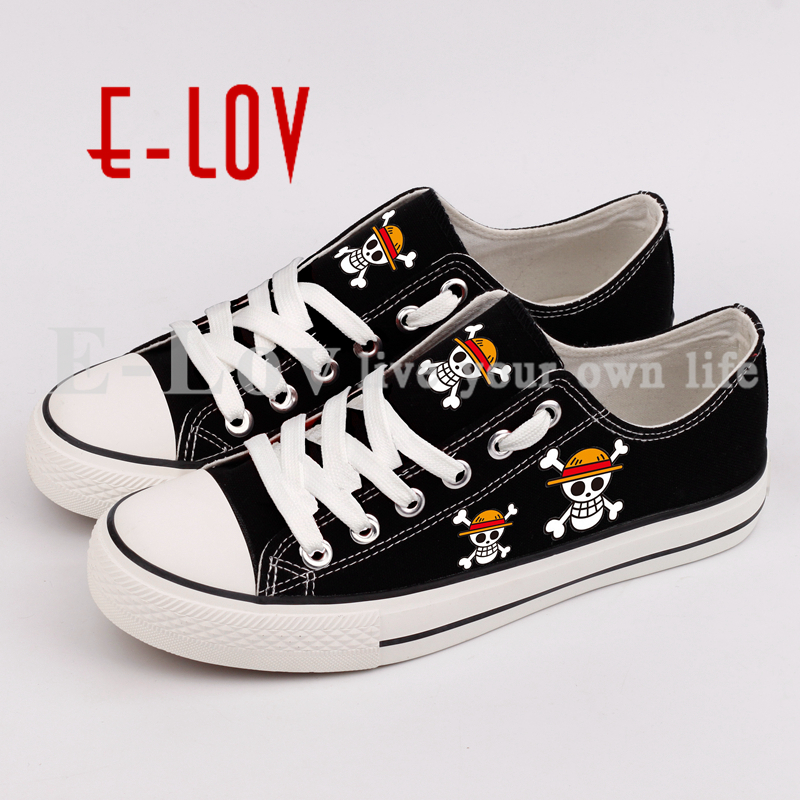 E-LOV Fashion Anime Skeleton Logo Printed Canvas Shoes Graffiti Casual Flat Espadrilles For Women Girls Best Valentine Gift printed assassins creed canvas shoes fashion design hip hop streetwear unisex casual shoes graffiti women flat shoe sapatos