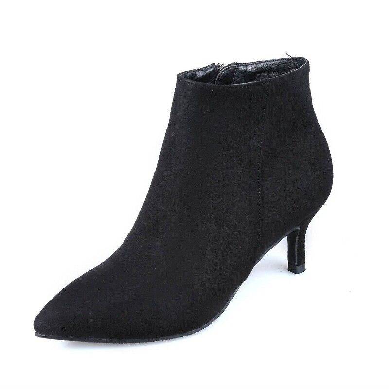 Épaississement 1126 Commerce De Stiletto Hiver Noir Plus Suede Velours Bottes Femmes Ljj Nouveau Section Pointu 2018 Extérieur 5AjLqSc43R