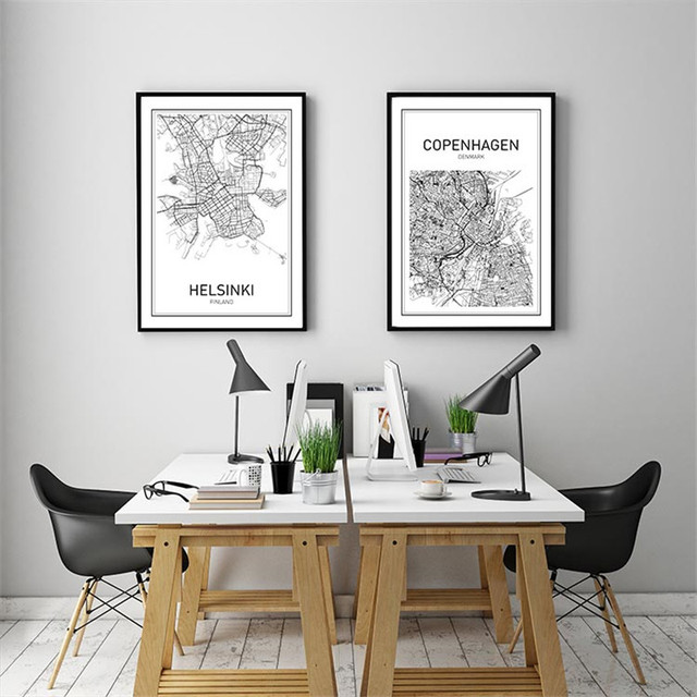 Modern World map decorative painting black white minimalist art canvas  prints office living room wall decor
