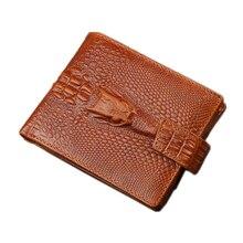 2016 Crocodile pattern genuine leather wallet men wallets famous brand wallet male coin purse card holder men money bag QB088
