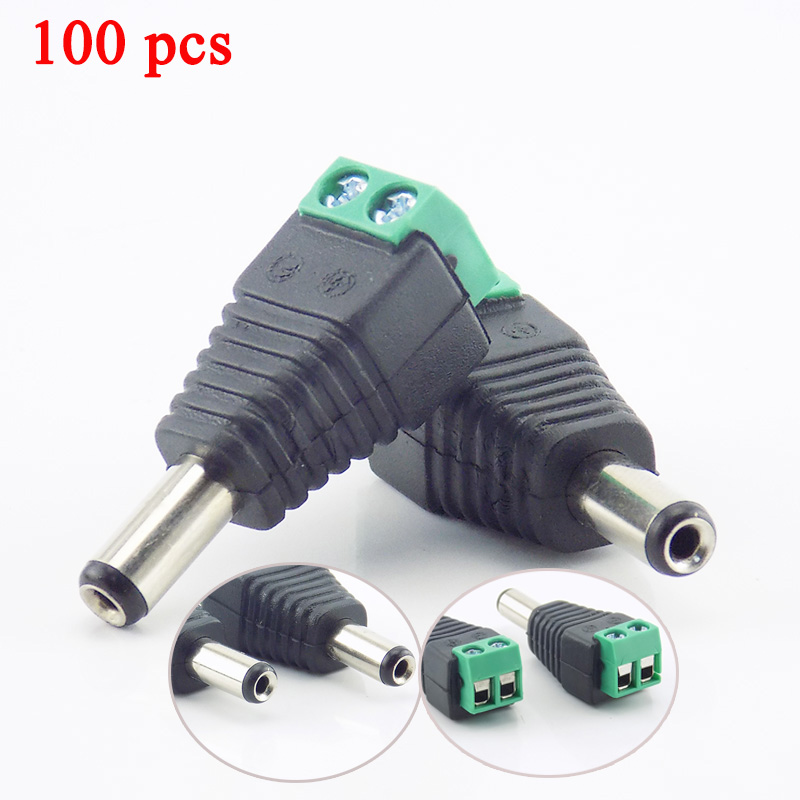 Gakaki 100Pcs 2.1Mm DC Male Plug Connector Adapter Power Supply Cctv Accessories For Cctv Camera Security System Video Camera