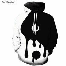 46d85aaba3af8 3D Hoodies Hommes Yin Yang 3D Pleine Impression Loisirs Noir Blanc Simple  Mode Streetwear Harajuku Sweat À Capuche Pull Vestes T..