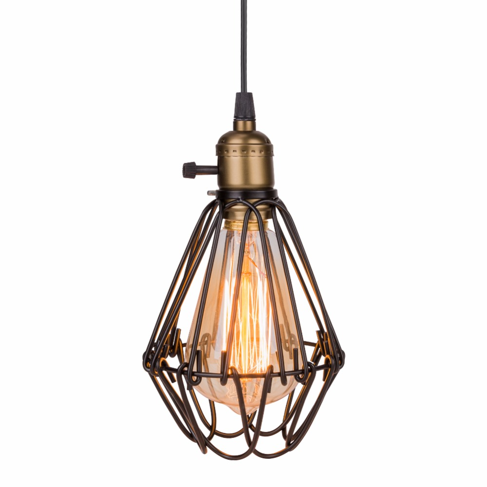 Lamp pendant lights classic industrial lampshade cover guard lamp pendant lights classic industrial lampshade cover guard birdcage vintage pendant lights metal iron wire lamp cage light in pendant lights from lights keyboard keysfo Images