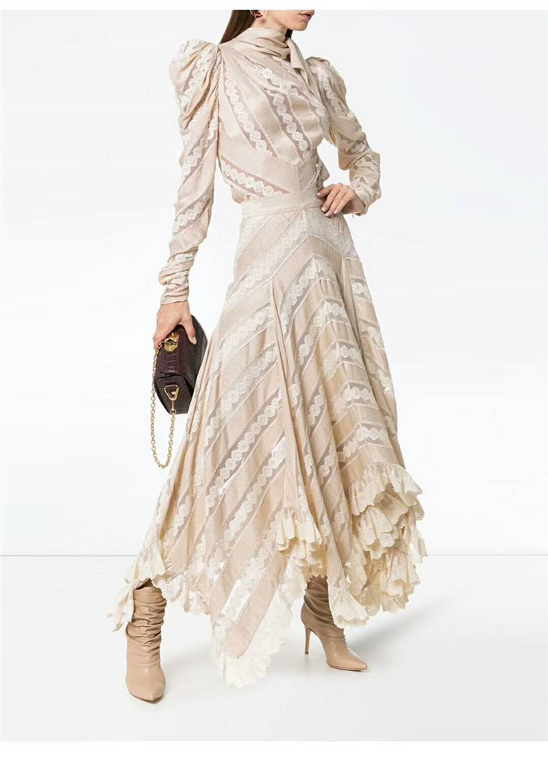 New high-end models fall pile heavy lace stitching bow jacket + skirt full-skirted dress suit