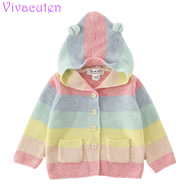 Toddler Girls Winter Clothing Cute Color Girls Knit Coats Baby Lovely Crochet Jackets With Hoody Kids Rainbow Clouds Jacket