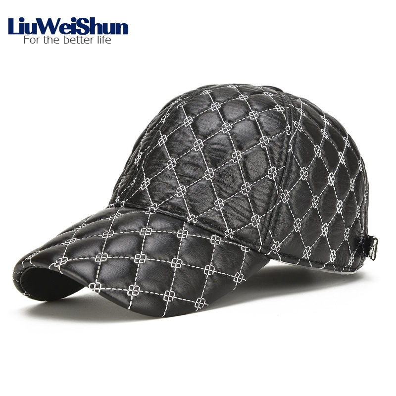 LiuWeiShun Sheep Skin Genuine Leather Baseball Cap For Men Rhombus Plaid Baseball Hats Snapback Bone Dad's Casual Outdoor Caps aetrue winter knitted hat beanie men scarf skullies beanies winter hats for women men caps gorras bonnet mask brand hats 2018