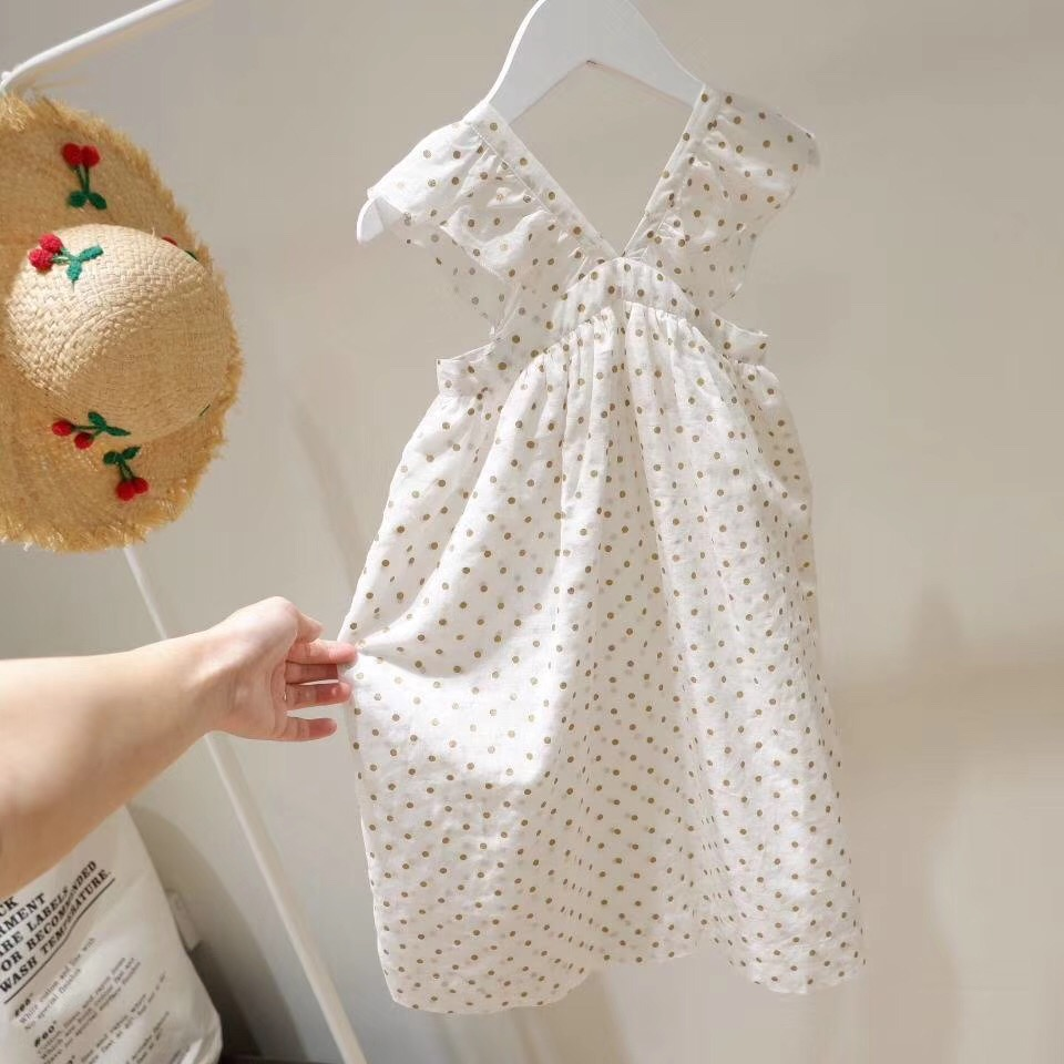 Chicas verano vestido blanco volantes brillante algodón boutique Bebé Vestidos de niñas