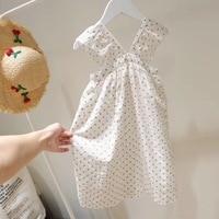Summer girls white dress ruffles shining dot cotton boutique baby girls dresses