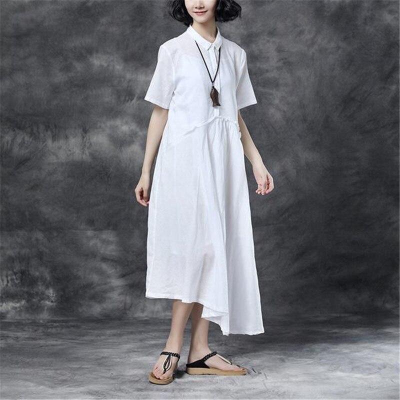 BUYKUD 2018 femmes décontracté Maxi irrégulière solide robe à manches courtes col rabattu bouton lâche robes avec poches