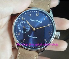 2017 new fashion PARNIS 44mm blue dial 6497 Mechanical Hand Wind movement High quality men's watch wholesale 66