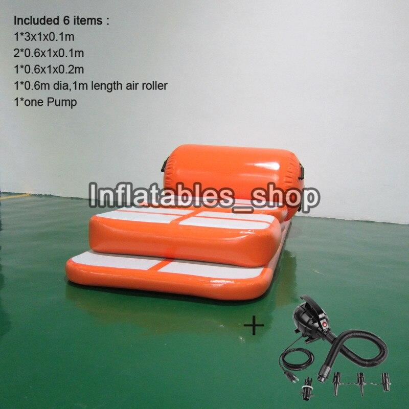 Livraison gratuite porte à porte un ensemble (6 pièces) gonflable Gym Airtrack Tumbling Yoga tapis Air Trampoline piste pour les enfants - 3