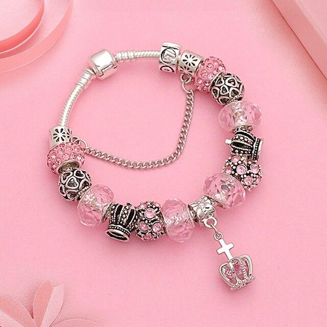 Crown Charm Bracelet: European Royal Crown Charm Pandora Bracelet For Women Pink