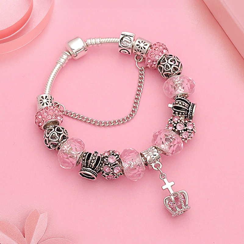 b465cc1c3 European Royal Crown Charm Pandora Bracelet for Women Pink Crystal Bead  Snake Chain Bracelets Fashion Silver