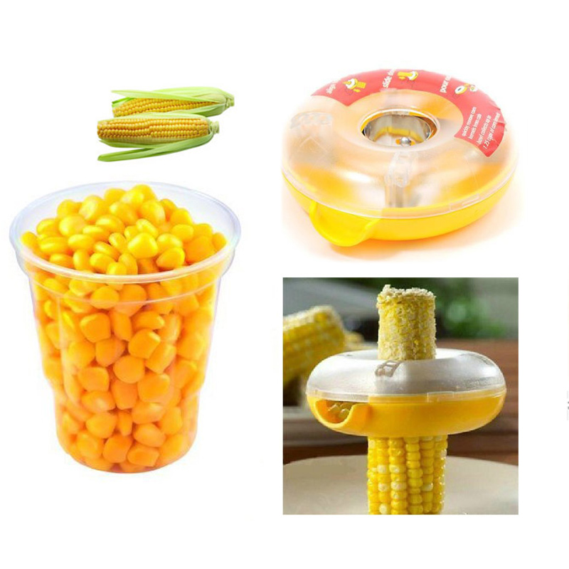 Corn Separator Circle Remove Cob Cutter Peeler Thresher Stripper Kitchen Fruit Vegetable Tools