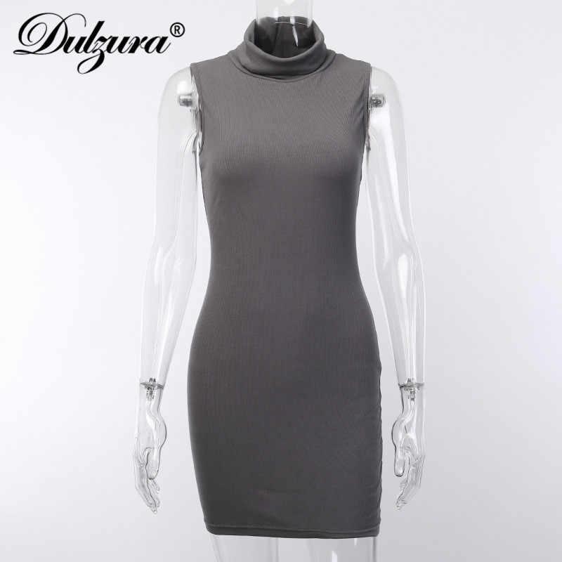 Dulzura 2019 летнее женское платье с высоким воротом облегающее элегантное уличная праздничная одежда мини плюс размер ребристые офисные женские