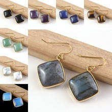 UMY New Stylish 18k Gold Plated Mixed Quartz Stone Rhombus Cabochon Drop Earrings Fashion Jewelry