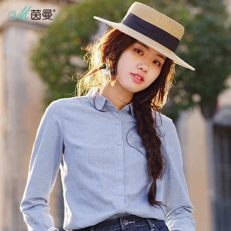 INMAN 2018 New Products Women Spring Clothes Cotton Striped Blouses Shirts