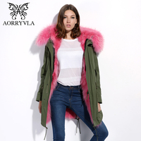 AORRYVLA 2017 Winter Real Fur Parka For Women Long Army Green Raccoon Fur Collar Hooded Coat
