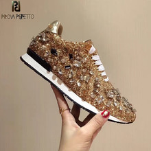Prova Perfetto New Rhinestones Sneakers Women Shoe Laces Paillette Spell Color Flat Shoes Ladies Real Leather Causal Shoes Woman