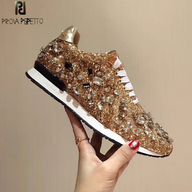 Prova Perfetto Rhinestones Sneakers Women Shoes Laces Paillette Spell Color Flat Shoes Leather Causal Shoes Zapatillas Mujer
