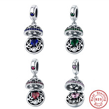INBEAUT Treasure Stone Boxes Beads 925 Sterling Silver Mysterious Green&Red Zircon Gift Jewelry Box Charm fit Trendy Bracelet 53 62mm physical photo natural burma stone green all green bracelet spinach green bracelet appraisal certificate gift boxes