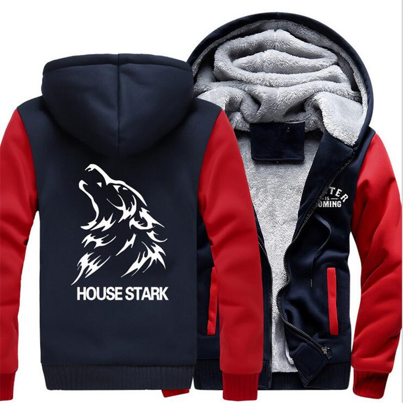 American Game of Thrones House Stark of Winterfell Cosplay Hoodies Winter Warm Fleece font b Men