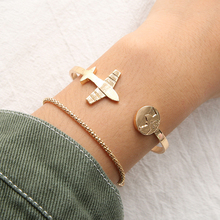 New Fashion Female Gold Color Bangle Bracelets For Women 2018 Personality Airplane Pattern Bracelet Set Jewelry Christmas Gifts