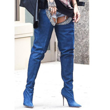 2017 New Style Trousers Boots Sexy Blue Denim Boots High Heels Shoes Woman Over Knee High Boots Fashion Thigh High Boots