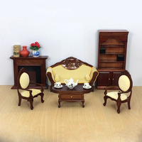 1:12 Furniture toy for dolls brown Miniature table chair bookcase sets Wooden household pretend play toys for girls dollhouse