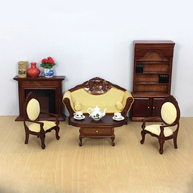 1:12 Furniture toy for dolls brown Miniature table chair bookcase sets Wooden household pretend play toys for girls dollhouse цена