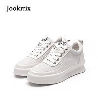 Jookrrix 2019 New Spring Fashion Brand Real Leather Lady Leisure Beige Shoe Women Casual Sneaker Girl Shoe Breathable Soft Black