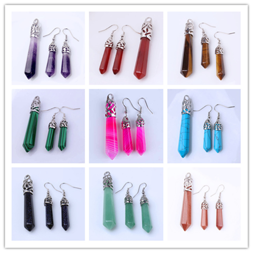 Kraft beads Silver Plated Many Color Quartz Stone Hexagon Prism Pendant Hanging Earrings For Anniversary Jewelry Sets in Jewelry Sets from Jewelry Accessories