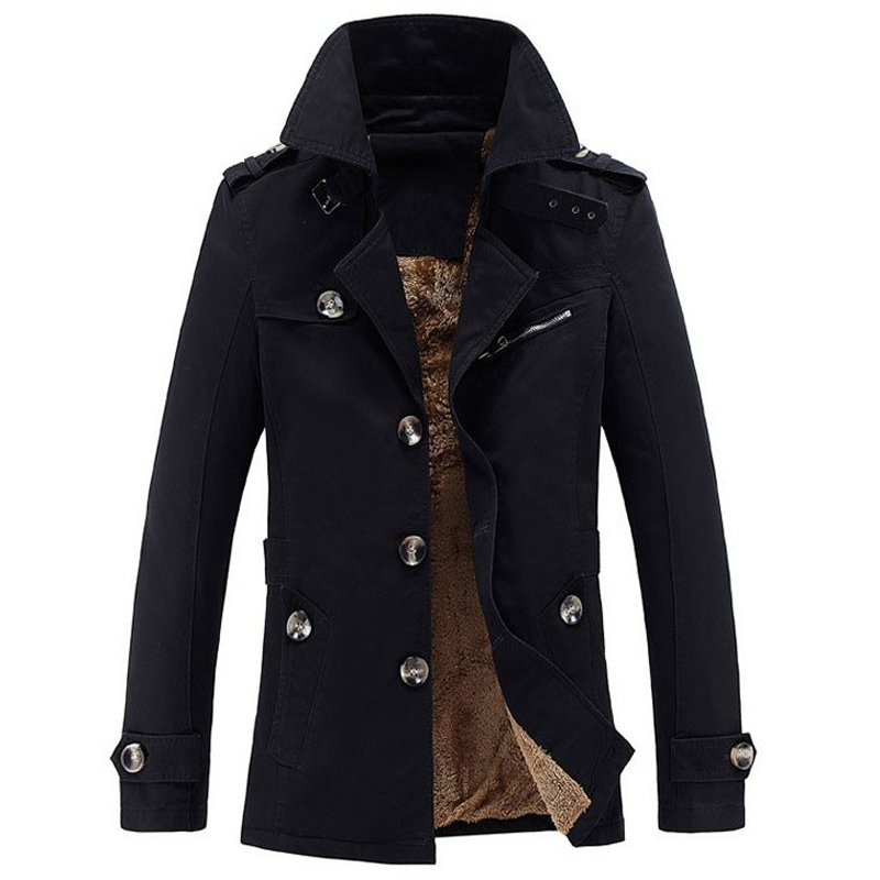 Brand Trench Coat Men Winter Casual Thick Velvet Jacket