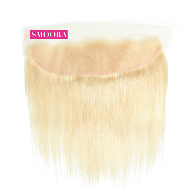 613 Blonde Lace Frontal Closure Ear to Ear with Baby Hair Pre Plucked Frontal 13*4 inch Brazilian Remy Straight Human Hair