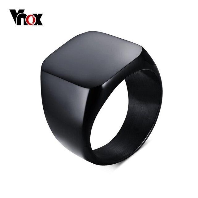Vnox Smooth Men's Black Rock Punk Rings Cool Fashion Individuality Signet Ring f